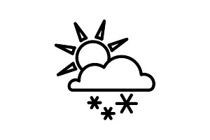 Web icon. Sun, clouds and snow black