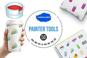 Painter tools icons set, cartoon sty