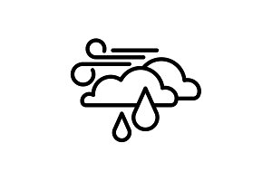 Web icon. Wind, clouds and rain