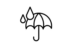 Web icon. Umbrella and rain black