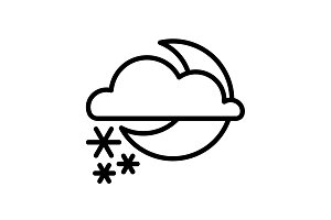 icon. Moon, clouds and snow. Night