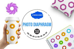 Photo diaphragm icons set, cartoon