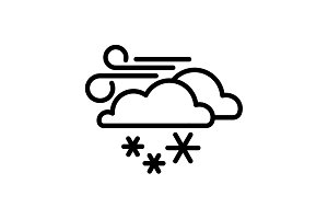 Web icon. Wind, clouds and snow
