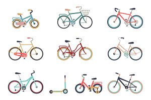 Hipster Bicycle set. Bike icons.