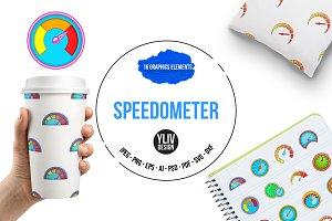 Speedometer icons set, cartoon style