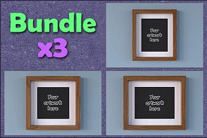Mockup wood picture frame BUNDLEx3