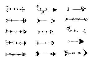 Black doodle arrows clipart boho