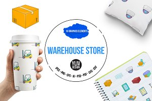 Warehouse store icons set, cartoon