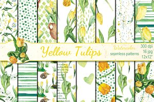 Watercolor Yellow tulips patterns