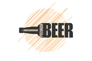 Beer bottle logo design om white