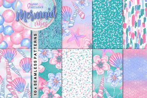 Mermaid vibes seamless patterns