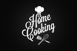Home cooking vintage lettering