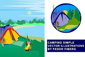 Camping vector landscape + logo