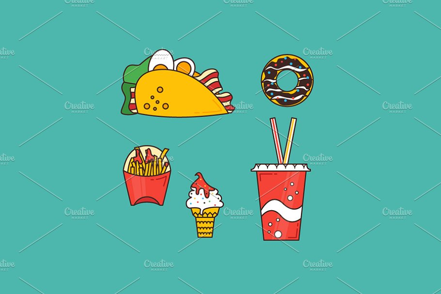 Fast food set in Illustrations - product preview 8