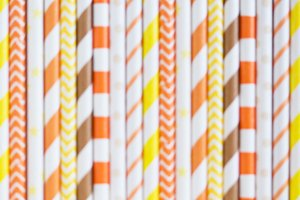 Blurry paper straw.