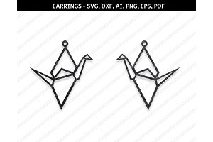 Crane Earrings svg,dxf,ai,eps,png