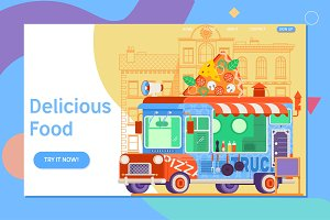Landing page template of colorful flat pizza truck. Flat vector illustration