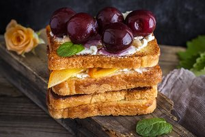 bread with soft curd and cherries