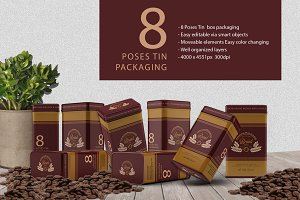 8 Model Tin Packaging Mockup