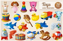 Set of 20 cartoon kid's toys