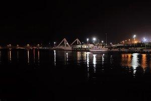 Port docks at night