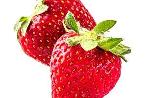 Raw strawberry on white