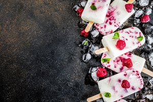 Raspberry and yogurt popsicles