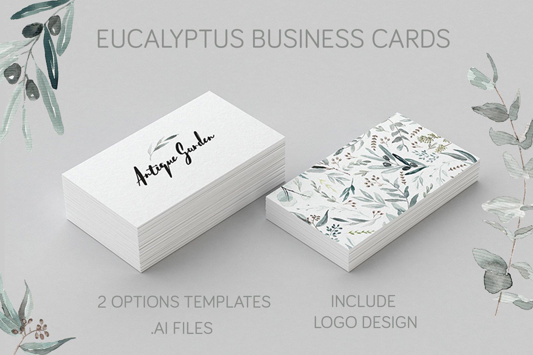 Eucalyptus Business Card Template ~ Business Card Templates ...