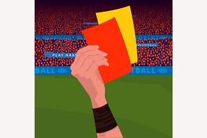 Referee holding red and yellow card