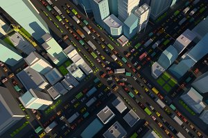 City street Intersection traffic jams road 3d render. Very high detail projection view. A lot cars end buildings top view illustration