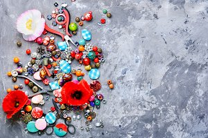 Beads and poppy
