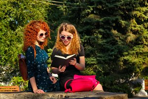 Best girlfriends are reading book