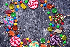 Assortment of colorful candies and lollipops