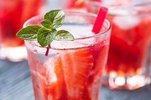 Summer fresh drink strawberry lemonade