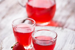 Strawberry liquor in a glasses