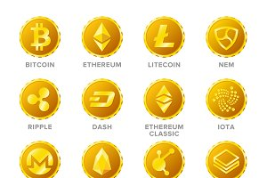 Cryptocurrency coin signs set