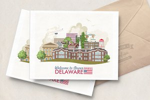 Delaware travel poster. USA
