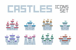 Castles and Fortresses icons set