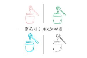 Honey jar with dipper hand drawn icons set