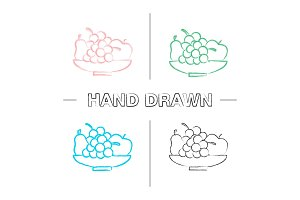 Bowl with fruit hand drawn icons set
