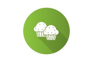 Cupcakes flat design long shadow glyph icon
