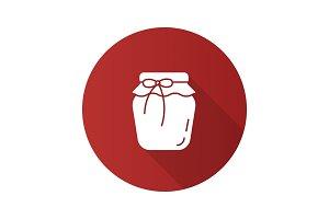 Strawberry jam jar flat design long shadow glyph icon