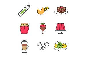 Confectionery color icons set