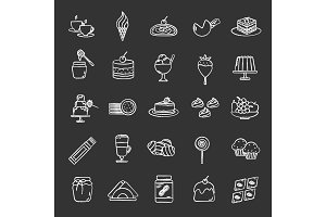 Confectionery chalk icons set