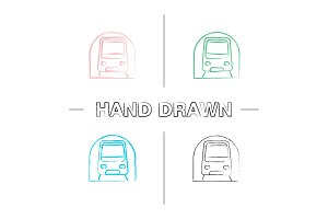 Metro hand drawn icons set