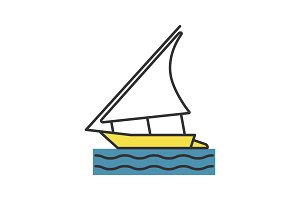 Sailing boat color icon