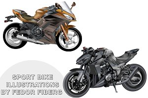Sports motobike vector illustrations