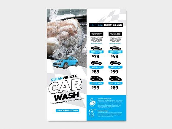 A4 Car Wash Poster Template Flyer Templates Creative Market