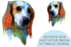 Hunting dog paint style vector