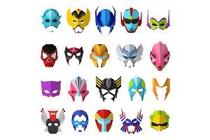 Hero mask vector superhero masque and masking face cartoon character illustration set of powerful masked symbol isolated on white background